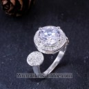 Cincin 3CT Round Cut Lab Grown Diamond Open Up Ring